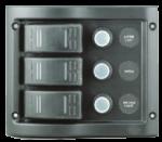 allpa Kunststof Schakelpaneel  12V  110x130mm ( hxb )  3-Schakelaars & LED-indicators  Automatische