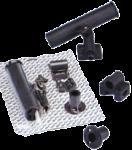 Kunststof Hengelhouder voor Railing- ( Ø25mm )  Dek- of Zijmontage  L=215mm  max. Ø40mm  Zwart