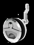 RVS Luiksluiting met draaigreep  A=8-25mm  B=22-76mm  C=62mm  D=50mm  E=71mm  F=54mm