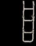 RVS Zwemtrap  4-Treden  met verstelbare Spiegelsteun  afm. uitgeklapt 260x1030mm  buis Ø20mm