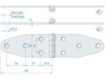 Roca staartscharnier vlak RVS 180 x 40 mm 441620