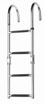 Zwemladder, SS316, 4 trede met synthetiche grips, folding, deck mounted